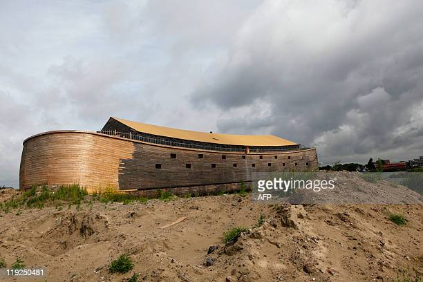 Jan Hennop The 150 metrelong Noah's ark created by Johan Huibers is pictured at an old abandoned quay on the Merwede River in Dordrecht on June 21...