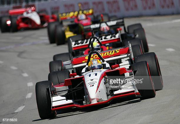 Jan Heylan driver of the Dale Coyne Racing FordCosworth Lola leads a pack of cars during the ChampCar World Series Toyota Grand Prix of Long Beach on...