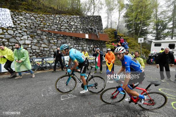 Jan Hirt of Czech Republic and Astana Pro Team / Giulio Ciccone of Italy and Team Trek Segafredo Blue Mountain Jersey / Passo del Mortirolo / Marco...