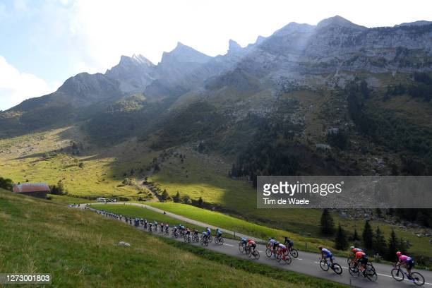 Jan Hirt of Czech Republic and CCC Team / Hugh Carthy of The United Kingdom and Team EF Pro Cycling / Col des Aravis / Peloton / Landscape /...
