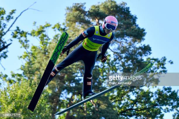 Jan Hoerl of Austria competes during the FIS Grand Prix Skijumping Hinzenbach at on February 6, 2021 in Eferding, Austria.
