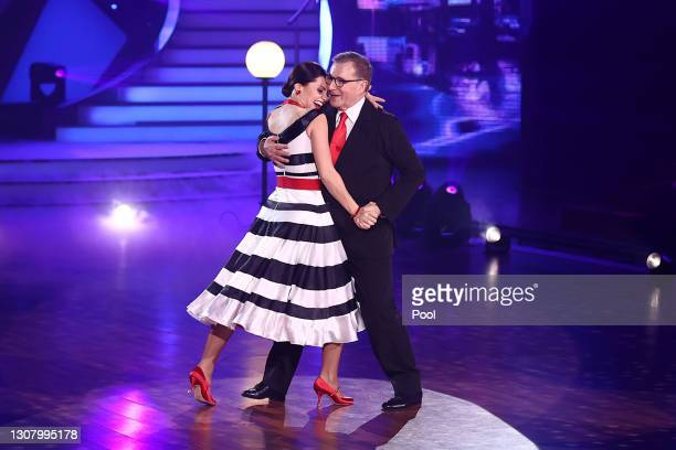 """Jan Hofer and Christina Luft perform on stage during the 3rd show of the 14th season of the television competition """"Let's Dance"""" on March 19, 2021 in..."""