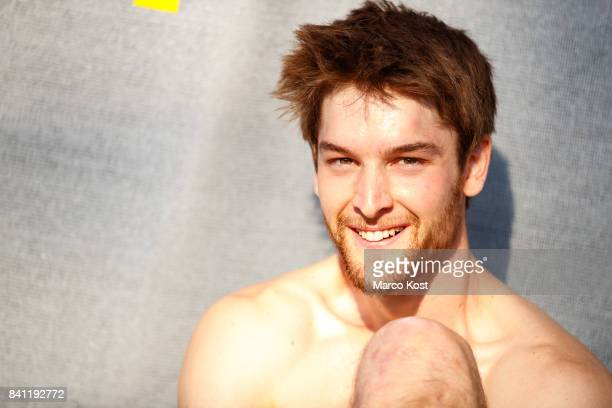 Jan Hojer of Germany smiles during the Qualification of the IFSC Climbing World Cup Munich on August 18 2017 in Munich Germany