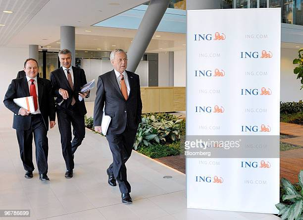 Jan Hommen chief executive officer of ING Groep NV right Koos Timmermans chief risk officer of ING Groep NV center and Patrick Flynn chief financial...