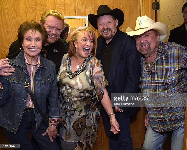 Jan Howard Lee Roy Parnell Tanya Tucker Moe Bandy and Johnny Lee backstage during the AllStar Whitey Shafer Benefit Hosted By Moe Bandy at The...