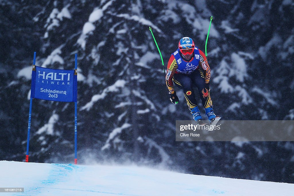 Jan Hudec of Canada skis in the Men's Downhill during the Alpine FIS Ski World Championships on February 9, 2013 in Schladming, Austria.