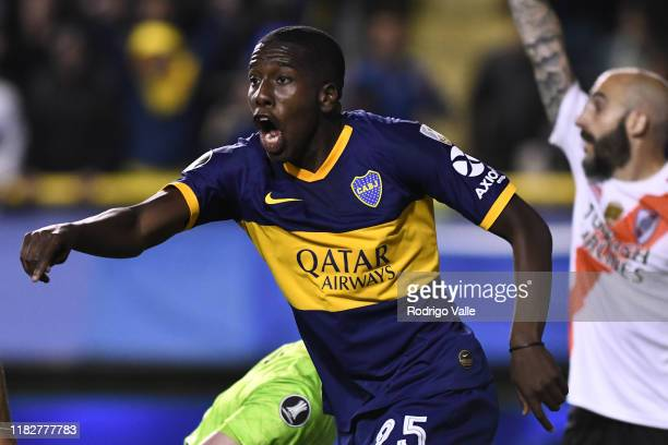 Jan Hurtado of Boca Juniors celebrates after scoring the opening goal during the Semifinal second leg match between Boca Juniors and River Plate as...