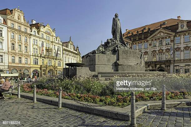 Jan Hus Monument in The Old Town Square of Prague, Czech Republic.