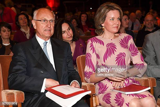 Jan Huyghebaert the chairperson of the Queen Elisabeth Competition and Queen Mathilde of Belgium attend the first session of the first round of the...