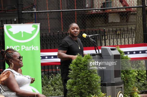 Jan Jackson and Lil Cease attend the ribbon cutting ceremony at Crispus Attucks Playground on August 2 2017 in the Brooklyn borough of New York City...