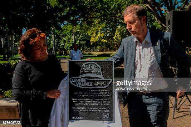 Jan Jarab Mexico's representative of the UN High Commissioner for Human Rights and Griselda Triana widow of Mexican journalist Javier Valdez take...