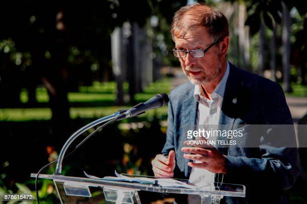 Jan Jarab Mexico's representative of the UN High Commissioner for Human Rights speaks during a tribute to journalist Javier Valdez in Culiacan State...