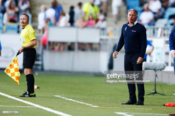 Jan Jönsson head coach of Halmstad BK during the Allsvenskan match between IFK Norrkoping and Halmstad BK at Ostgotaporten on May 27 2017 in...