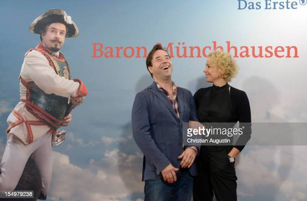 Jan Josef Liefers and Katja Riemann attend the photocall of 'Baron Muenchhausen' at Metropolis cinema on October 29 2012 in Hamburg Germany