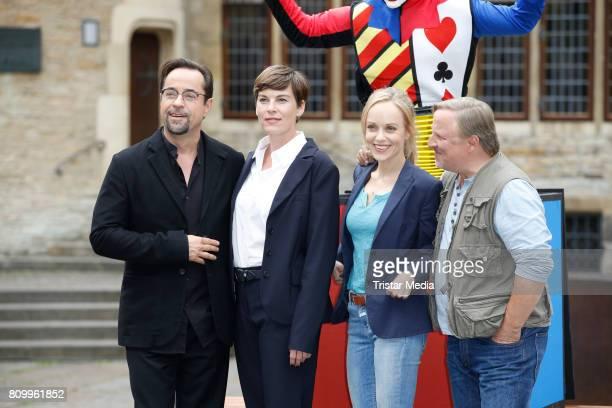 Jan Josef Liefers Viktoria Mayer Friederike Kempter and Axel Prahl during the 'Tatort Gott ist auch nur ein Mensch' On Set Photo Call on July 5 2017...