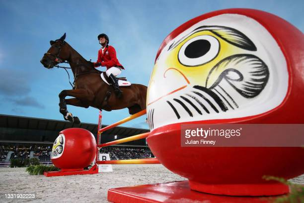 Jan Kaminski of Team Poland riding Jard competes during the Eventing Jumping Team Final and Individual Qualifier on day ten of the Tokyo 2020 Olympic...