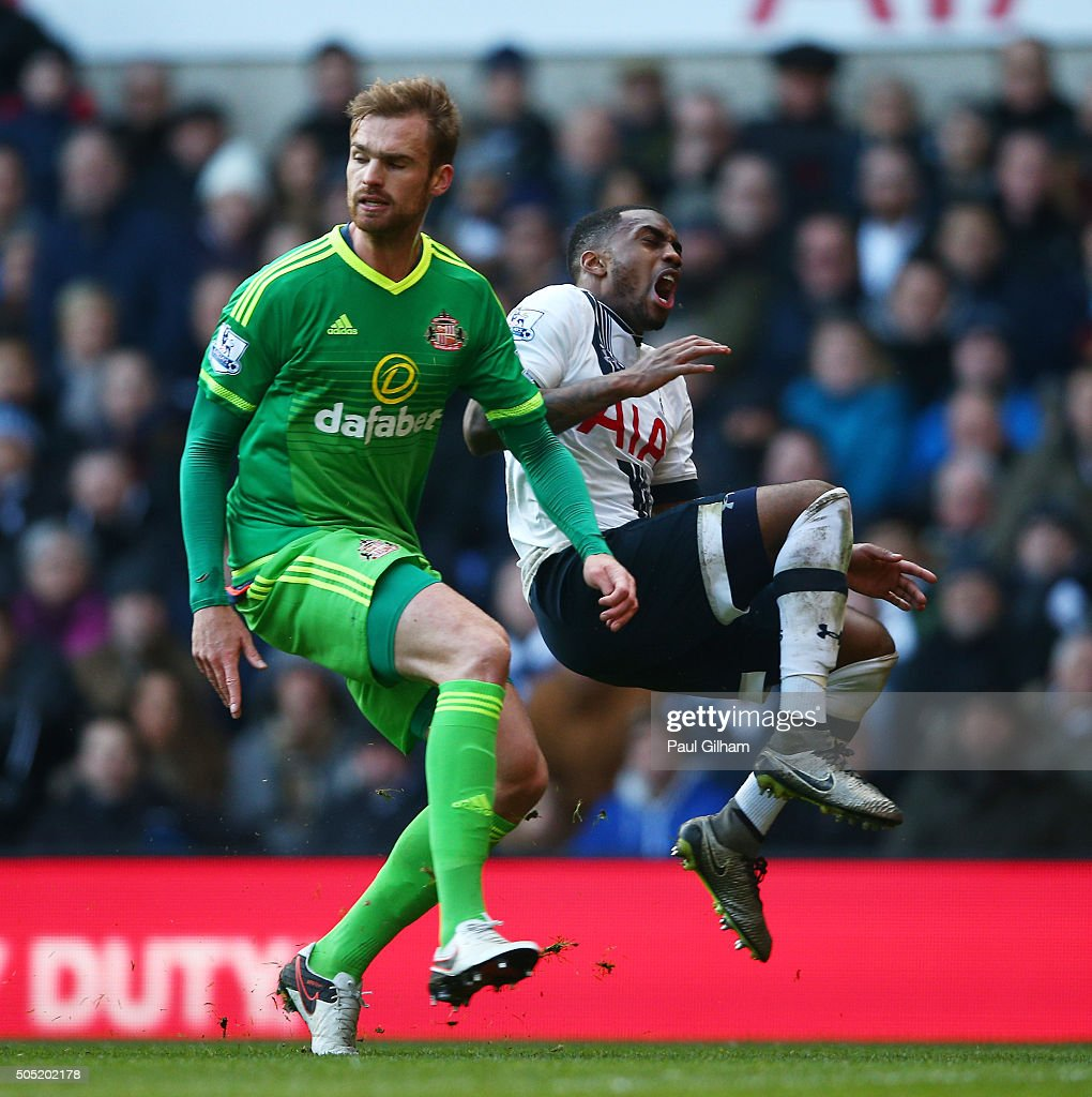 Jan Kirchhoff of Sunderland fouls Danny Rose of Tottenham Hotspur in the penalty area resulting in the penalty kick during the Barclays Premier League match between Tottenham Hotspur and Sunderland at White Hart Lane on January 16, 2016 in London, England.