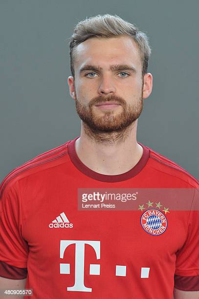 Jan Kirchhoff poses during the team presentation of FC Bayern Muenchen at Bayern's training ground Saebener Strasse on July 16 2015 in Munich Germany
