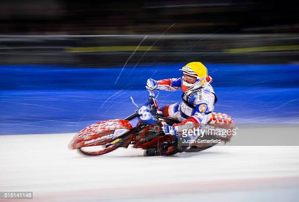 Jan Klatovsky in action during the Ice Speedway World Championship Final on March 12 2016 in Assen Netherlands