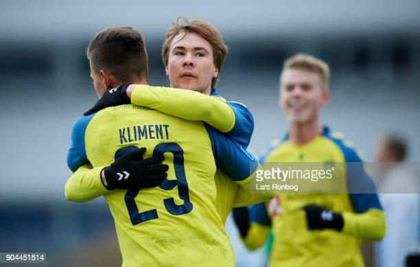 Jan Kliment and Simon Tibbling of Brondby IF celebrate after scoring their first goal during the test match Brondby IF vs FC Roskilde at Brondby...