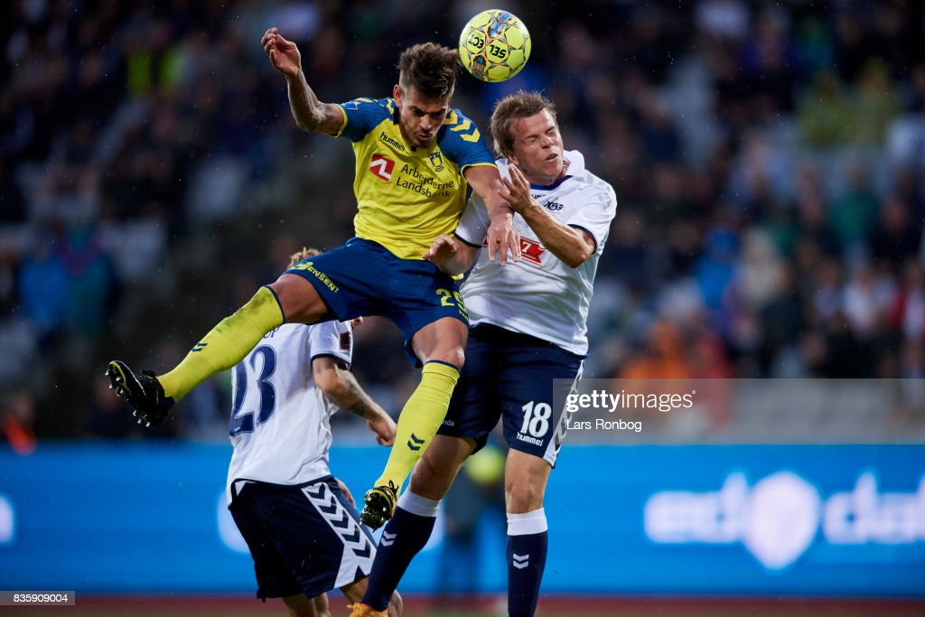 Jan Kliment of Brondby IF and Jesper Juelsgard of AGF Aarhus compete for the ball during the Danish Alka Superliga match between AGF Aarhus and Brondby IF at Ceres Park on August 20, 2017 in Aarhus, Denmark.