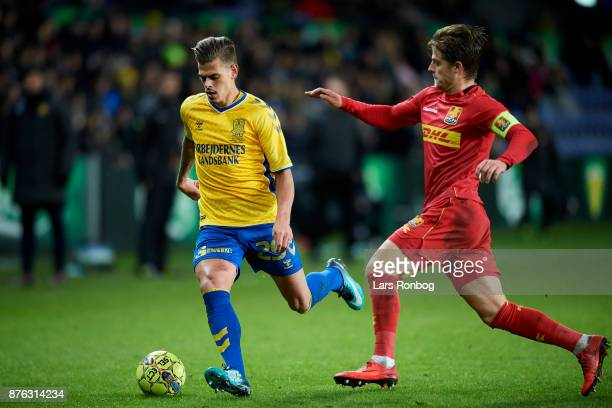 Jan Kliment of Brondby IF and Mathias Jensen of FC Nordsjalland compete for the ball during the Danish Alka Superliga match between Brondby IF and FC...