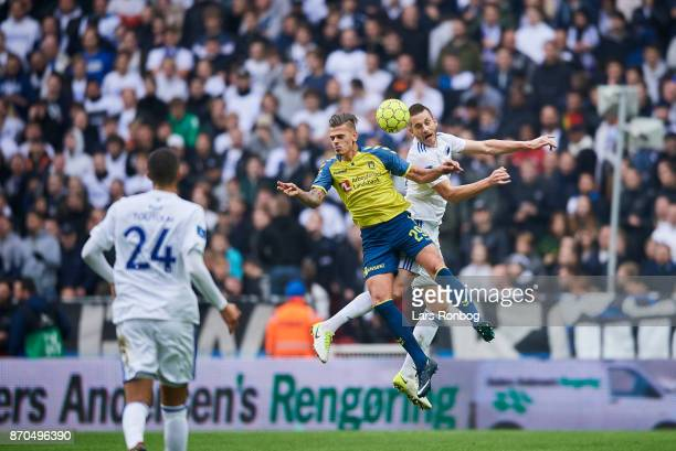 Jan Kliment of Brondby IF and Michael Luftner of FC Copenhagen compete for the ball during the Danish Alka Superliga match between FC Copenhagen and...