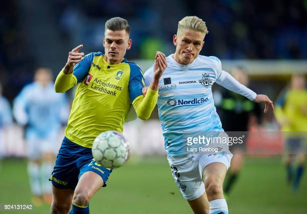 Jan Kliment of Brondby IF and Soren Henriksen of FC Helsingor compete for the ball during the Danish Alka Superliga match between Brondby IF and FC...