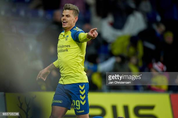 Jan Kliment of Brondby IF celebrate after his 21 goal during the Danish Alka Superliga match between Brondby IF and Hobro IK at Brondby Stadion on...