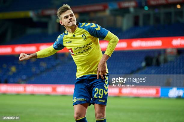 Jan Kliment of Brondby IF celebrate after the Danish Alka Superliga match between Brondby IF and Hobro IK at Brondby Stadion on March 18 2018 in...