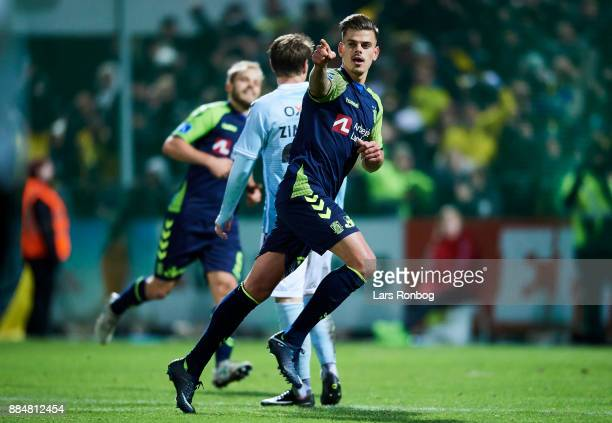 Jan Kliment of Brondby IF celebrates after scoring their third goal during the Danish Alka Superliga match between Sonderjyske and Brondby IF at...
