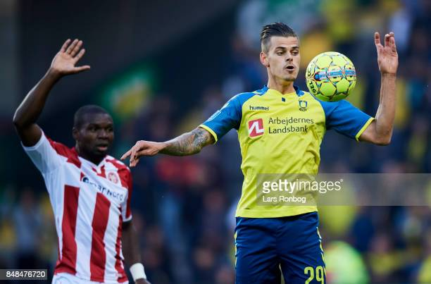 Jan Kliment of Brondby IF controls the ball during the Danish Alka Superliga match between Brondby IF and AaB Aalborg at Brondby Stadion on September...