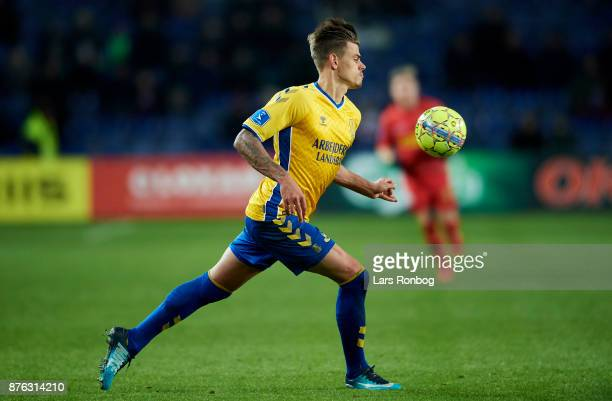 Jan Kliment of Brondby IF controls the ball during the Danish Alka Superliga match between Brondby IF and FC Nordsjalland at Brondby Stadion on...