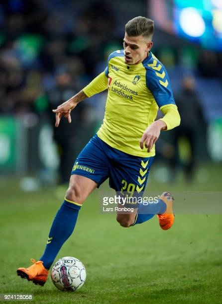 Jan Kliment of Brondby IF controls the ball during the Danish Alka Superliga match between Brondby IF and FC Helsingor at Brondby Stadion on February...