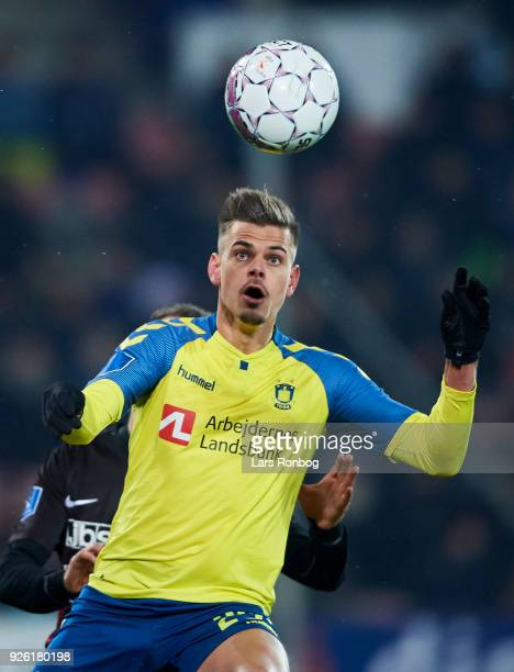 Jan Kliment of Brondby IF controls the ball during the Danish Alka Superliga match between FC Midtjylland and Brondby IF at MCH Arena on March 1 2018...