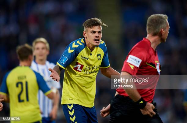 Jan Kliment of Brondby IF gestures against Referee Jakob Kehlet during the Danish Alka Superliga match between OB Odense and Brondby IF at EWII Park...