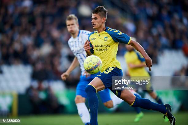 Jan Kliment of Brondby IF in action during the Danish Alka Superliga match between OB Odense and Brondby IF at EWII Park on September 10 2017 in...