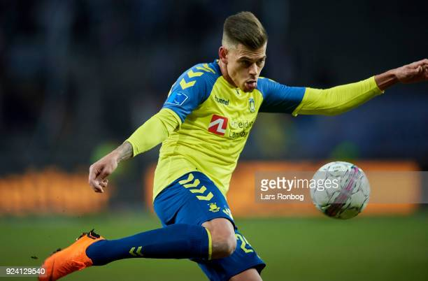 Jan Kliment of Brondby IF in action during the Danish Alka Superliga match between Brondby IF and FC Helsingor at Brondby Stadion on February 25 2018...