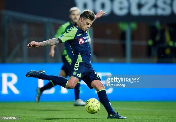 Jan Kliment of Brondby IF scores the 31 goal during the Danish Alka Superliga match between Sonderjyske and Brondby IF at Sydbank Park on December 3...