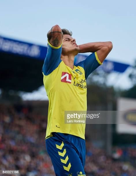 Jan Kliment of Brondby IF shows frustration during the Danish Alka Superliga match between OB Odense and Brondby IF at EWII Park on September 10 2017...