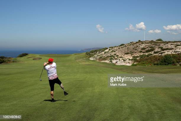 Jan Koczar of Poland plays an iron shot during the Golf Open of the Invictus Games at The New South Wales Golf Club on October 19 2018 in Sydney...