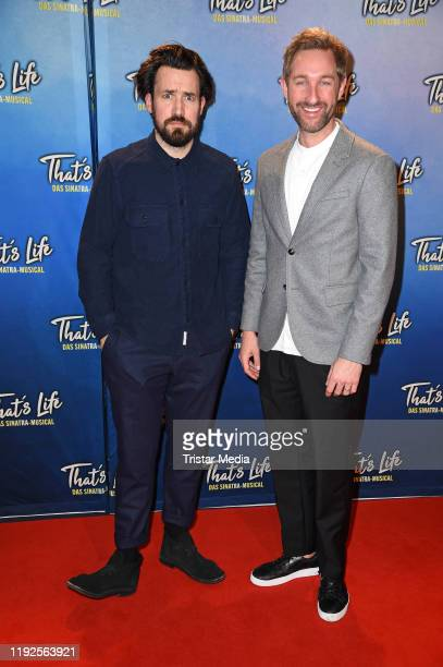 """Jan Koeppen and Daniel Boschmann attend the """"That's Life - The Sinatra Musical"""" premiere at Theater am Potsdamer Platz on January 8, 2020 in Berlin,..."""