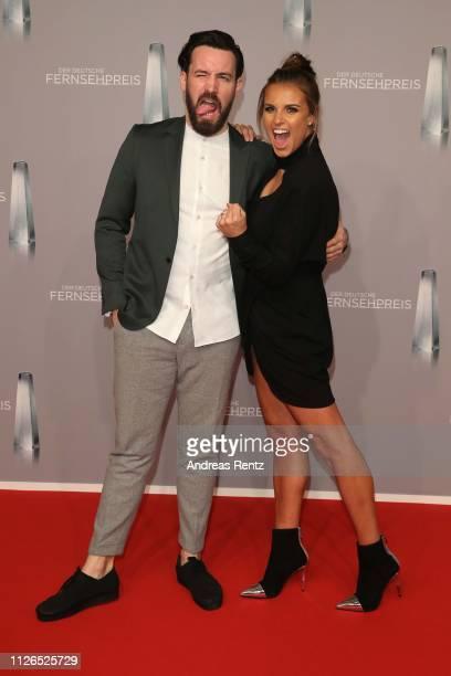 Jan Koeppen and Laura Wontorra attend the German Television Award at Rheinterrasse on January 31, 2019 in Duesseldorf, Germany.