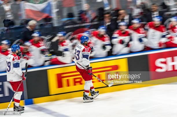 Jan Kolar of Czech Republic celebrates his goal with teammates during the 2019 IIHF Ice Hockey World Championship Slovakia group game between Austria...