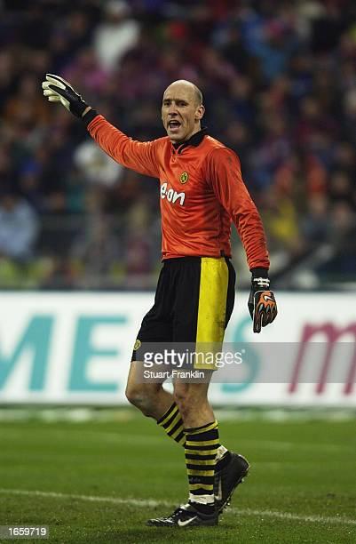 Jan Koller the striker for Borussia Dortmund as substitute goal keeper during the Bundesliga match between FC Bayern Munich and Borussia Dortmund at...