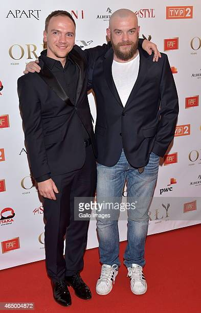 Jan Komasa and Lukasz Palkowski attend the 2015 Orly Awards on March 2 2015 at Polski Theatre in Warsaw Poland The annual awards which are the...