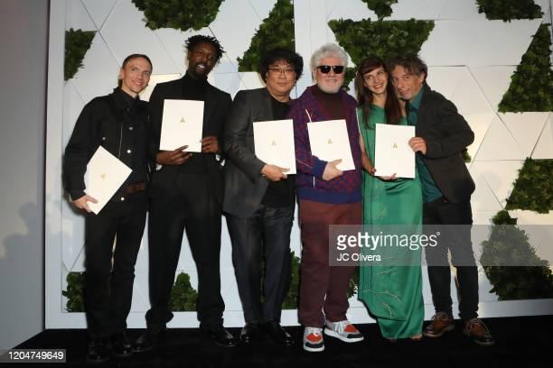 Jan Komasa Ladj Ly Bong Joonho Pedro Almodovar Tamara Kotevska and Ljubomir Stefanov attend The Oscars International Feature Film Nominees Cocktail...