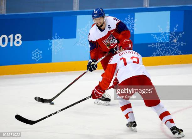 Jan Kovar of Czech Republic and Pavel Datsyuk of OAR during Men's Semifinal ice hockey match between the Czech Republic and Olympic Athletes from...