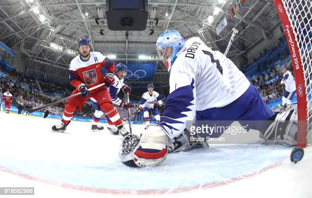 Jan Kovar of the Czech Republic scores a goal against Matt Dalton of Korea during the Men's Ice Hockey Preliminary Round Group A game on day six of...