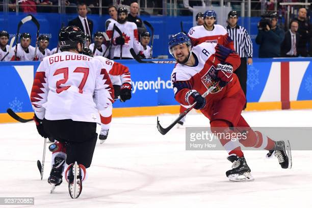 Jan Kovar of the Czech Republic shoots against Cody Goloubef of Canada in the third period during the Men's Bronze Medal Game on day fifteen of the...